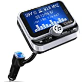 """Bluetooth FM Transmitter for Car, Clydek Car Charger Adapter 1.8"""" Large Display Bluetooth Car Adapter with Remote Control,4 M"""