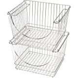 Pro-Mart Stacking Baskets (Set of 2) Chrome, Chrome, Large