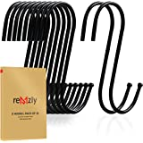 Remzly 30 Pack S Hooks for Hanging 3.5 Inch | Heavy Duty Carbon Steel Hangers for Kitchen Utensils, Plants, Pot, Pan, Cups, T