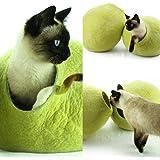 猫ベッド、ペットハウス、洞穴、うたた寝用の繭(コクーン)、100%ウールの100%ハンドメイド、Kivikis製 樺の木グリーン色 [並行輸入品]