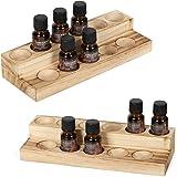 LIANTRAL Essential Oils Storage Rack, 2 Tiers Wooden Essential Oils Nail Polish Display Holder for 5/10/15/20ml Bottles, Set