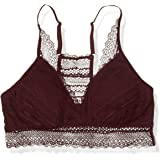Amazon Brand - Mae Women's Stripe Lace Racerback Bralette with Removable Pads