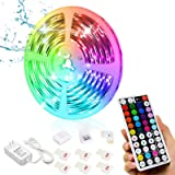 Led Strip Lights, 16.4ft/5M 24V RGB Color Changing Waterproof Led Strip Lights with 44 Keys RF Remote Controller 5050 LED Rop