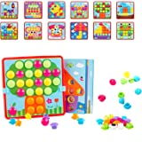 FEIGSEN Button Art Toy for 3 Year Old Color Matching Mosaic Pegboard Early Learning Toy Gifts for Boys and Girls Toddlers, 12
