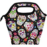 Wamika Lunch Bag Sugar Skull Flowers Rose Daisy Insulated Cooler Thermal Lunch Bag Box for Kids School Children Students Girl