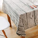 Dining Tablecloth EZPZLife Retro Soft Cotton and Linen Tablecloth Wood Grain Simulation Bark Dustcloth Photography Background