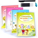 Magic Practice Copybook, 4 English Study Workbooks, Reusable Children's Calligraphy Letter Tracing Paper Mathematical Drawing