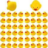 SAVITA 50pcs Rubber Ducky Bath Toy for Kids, Float and Squeak Mini Small Yellow Ducks Bathtub Toys for Shower/Birthday/Party
