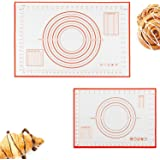2in1 Silicone Pastry Baking Mat (40x60cm) & (26x29cm), Reayouth Non-Stick Reusable Rolling Pastry Mat with Measuring Guide fo