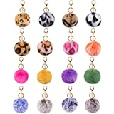 Joyypop 16 PCS Pom Poms Keychains Fluffy Faux Fur Colorful Pom Pom Balls for Girls Women (Leopard Mix Colors)