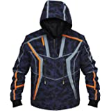 LP-FACON Mens Iron Army Marine Blue Camouflage Hoodie Cotton Outerwear Jacket/Costume Cosplay