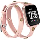 Glebo Leather Double Tour Bands Compatible with Fitbit Versa 2/Versa/Versa Lite Edition, Splim Double Wrap Around Bands with