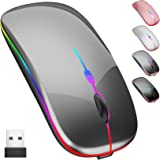 Wireless Mouse, LED Rechargeable Slim Bluetooth Mouse with Dual Mode (Bluetooth 5.0 and 2.4G Wireless),Portable Wireless Mous