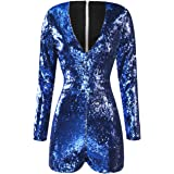 HaoDuoYi Women's Gold Sequins V-Neck Chic Jumpsuits
