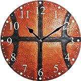 バスケットボール 掛け時計 置き時計 おしゃれ 北欧 油絵の効果 壁掛け 連続秒針 リビング 部屋装飾 贈り物