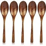 スプーン 天然木製 5本セット 20cm 漆塗り ディナースプーン ミディアムロングハンドル ウッドカトラリー スープ カレー テーブルスプーン シンプル 軽量 和食器