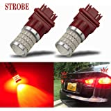 iBrightstar Newest 9-30V Strobe Brake Lights 3157 3057 3156 3056 LED Bulbs with Projector replacement for Tail Brake Stop Lig