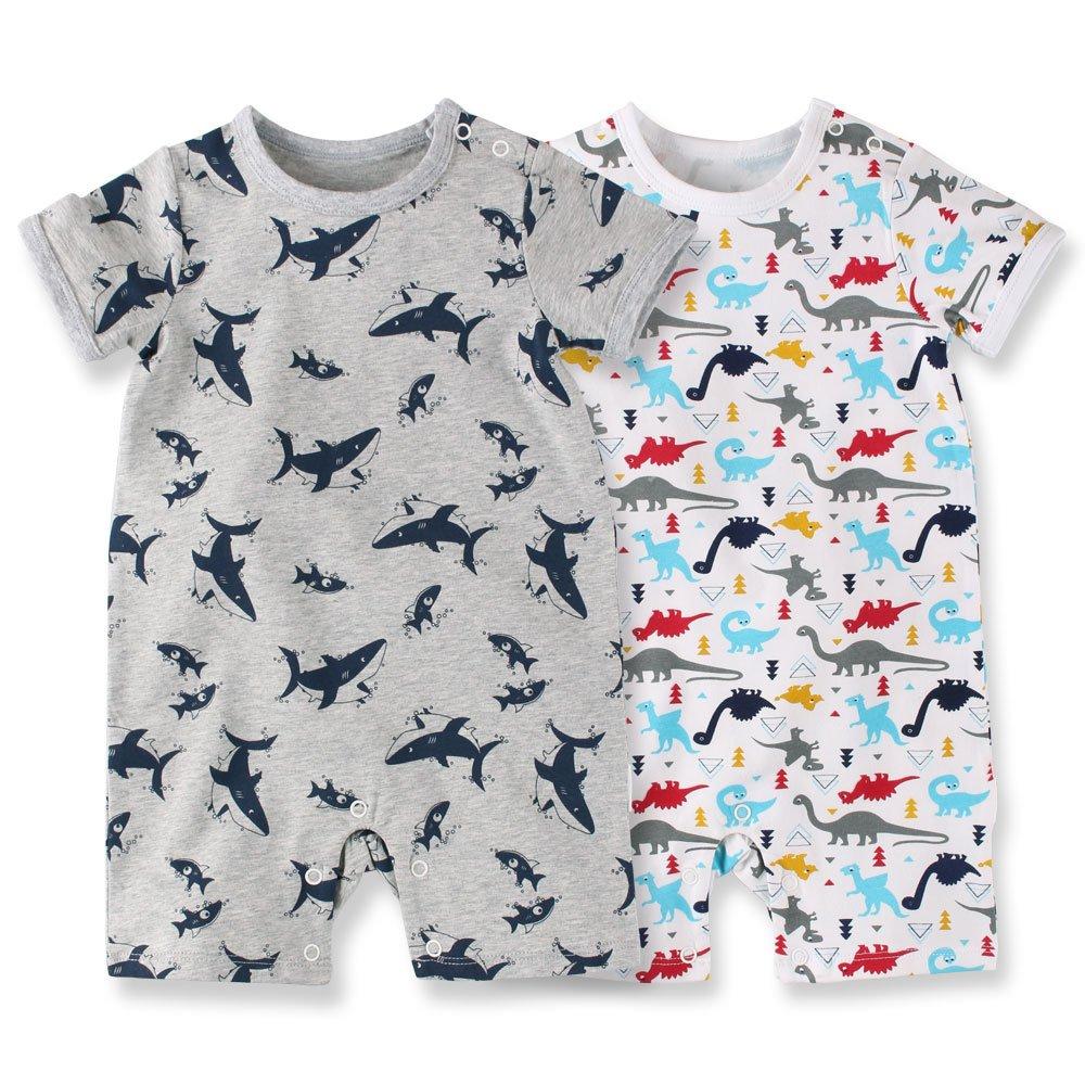f9bcb046435a9 nest Baby Nest 夏 ベビー服 半袖ロンパース 2枚セット 女の子 男の子 肩ボタン 動物柄