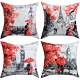 BLEUM CADE 4 Packs Throw Pillow Covers Black & Red Color Eiffel Tower & Big Ben Modern Couple Under Square Throw Pillow Cover
