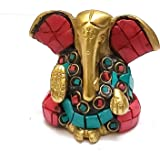 PARIJAT HANDICRAFT A Colored & Golden Statue of Lord Ganesh Ganpati Elephant Hindu God Made from Solid Brass Metal with Turqu