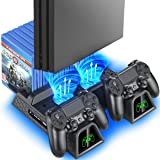 PS4 Stand Cooling Fan Station for Playstation 4/PS4 Slim/PS4 Pro, OIVO PS4 Pro Vertical Stand with Dual Controller EXT Port C