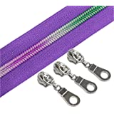 YaHoGa #5 Colorful Teeth Rainbow Metallic Nylon Coil Zippers by The Yard Bulk 10 Yards with 25pcs Silver Sliders for DIY Sewi