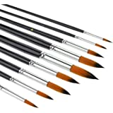 Watercolour brushes-9Pcs Round Tipped Detail Paint Brushes with Long Handle for Watercolor, Acrylic Liner Painting, Oil, Goua