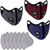 Cimaybeauty 3 Pack Unisex Protect Adjustable Reusable with 6 Filters Dustproof Face_Mask for Outdoor Cycling