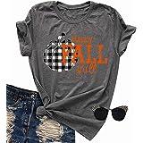 FAYALEQ Happy Fall Y'all Halloween Pumpkin Shirt Women Plaid Print Funny Graphic Tee Fall T-Shirt Top