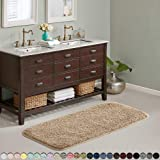 Suchtale Large Bathroom Rug Extra Soft and Absorbent Shaggy Bathroom Mat (24 x 60, Sand) Machine Washable Microfiber Bath Mat