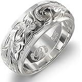 ハワイアンジュエリー リング 刻印無料 誕生石入れ可 シルバー925 スクロール ダブルプレート 幅8mm 指輪 日本サイズ10号 SR3202
