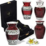 Keepsake Urns Red - Handcrafted Mini Urns for Human Ashes - Small Urns Set of 4 with Premium Box & Bags - Tribute Your Loved