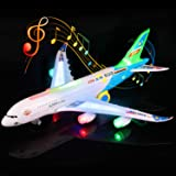Feroxo Airplane Toys Airbus A380 Jet Plane - Realistic LED Lights & Engine SoundsBump and Go Action Electric Light Up Toys fo