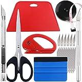 Wallpaper Smoothing Tool kit, Scraper, Carving Knife (6 blades), Artistic Knife (10 blades), Small scissors, Black tape, Cutt