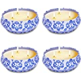 4 Pack Citronella Candles Outdoor Indoor, 5oz 3-Wick Natural Soy Scented Wax Candles, Portable Travel Tin Gift Set for Summer