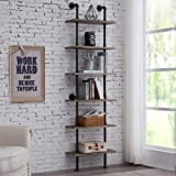Industrial 6-Tier Modern Ladder Shelf Bookcase, Vintage Metal Pipes and Wood Shelves, Rustic Display Bookshelf for Storage Co