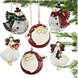 Partybus Christmas Ornaments Set, 3D Lightweight Rustic Tin Angel Snowman Santa Claus Decorations for Kids Xmas Tree, Metal C