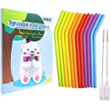 Weic Thin Short Reusable Kids Toddlers Silicone Drinking Straws for take and toss Cups with Cleaning Brush,Narrow Straws BPA