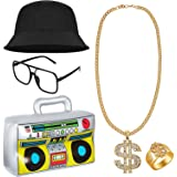 80s/ 90s Hip Hop Costume Kit Cool Rapper Outfits - Inflatable Radio Boombox, Bucket Hat, Sunglasses, Dollar Sign Necklace and