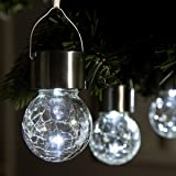 GIGALUMI 4 Pack Hanging Solar Lights, White LED Solar Crackle Globe Hanging Lights Waterproof Outdoor Solar Lanterns with Han