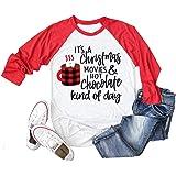 Belleet This is My Christmas Movie Watching Shirt Women Long Sleeve Christmas T Shirts Graphic Raglan Baseball Tee Truck Top