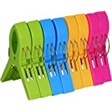 ECROCY 8 Pack Beach Towel Clips in Bright Colors - Jumbo Size Beach Chair Towel Clips - Keep Your Towel from Blowing Away,Clo