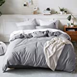 Bedsure Duvet Cover Set Solid with Button Closure, Natural Material Type, Cozy Casual Style, 100% Washed Cotton, Grey, Full/Q