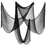 Biubee Pack of 5 Halloween Black Creepy Cloth- Spooky Fabric Cloth for Haunted House Halloween Party Doorway Outdoors Decorat