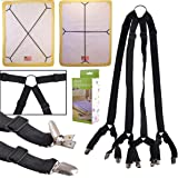 eZAKKA Bed Sheet Straps One Set Long Crisscross Adjustable Fitted Bed Sheets Corner Holder Suspenders Grippers Bands Fastener