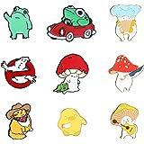 FIBO STEEL 9 Pieces Enamel Pin for Women Teens Cute Cartoon Frog Duck Mushroom Hat Brooch Pins Badges for Bags Clothes Caps