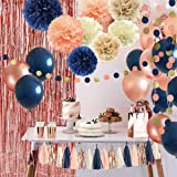 Navy Blue Rose Gold Bridal Shower Party Decorations Navy Peach Glitter Gold Birthday Wedding Gender Reveal Party Supplies inc