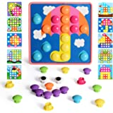 NextX Button Art Toddler Game, Color Pink Matching Mosaic Pegboard, Easy to Storage, Peg Puzzle Educational Toy, Toddler Acti