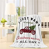 DoremiHome Farm Truck Throw Blanket 40x50 inches I Just Want to Watch Hallmark Christmas Movies All Day Warm Fluffy Plush Bed
