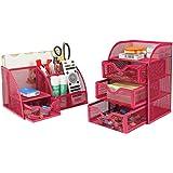 PAG Office Supplies Mesh Desk Organizer Set Accessories Storage Caddy Pen Holder for Desk, Pink